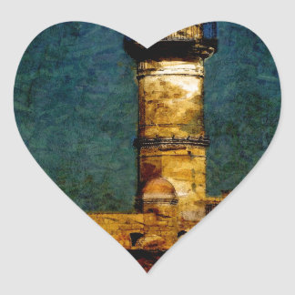Lighthouse in Chania Heart Sticker