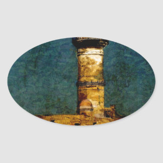 Lighthouse in Chania Oval Sticker
