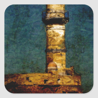 Lighthouse in Chania Square Sticker