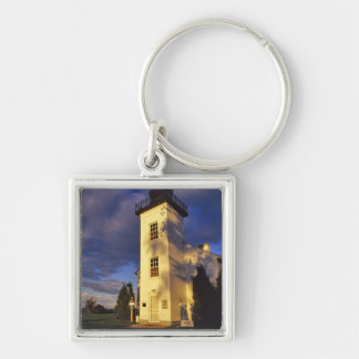 Lighthouse in Escanaba UP Michigan Silver-Colored Square Keychain