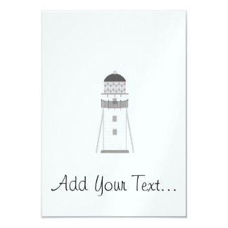 Lighthouse in gray an white 3.5x5 paper invitation card