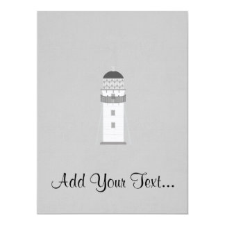 Lighthouse in gray an white 6.5x8.75 paper invitation card