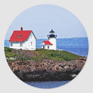 Lighthouse in Maine Classic Round Sticker