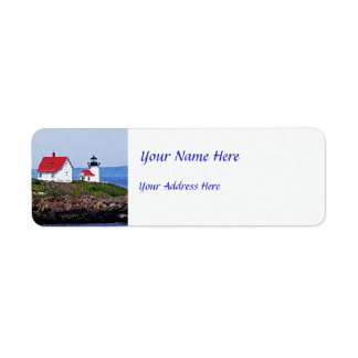Lighthouse in Maine Label