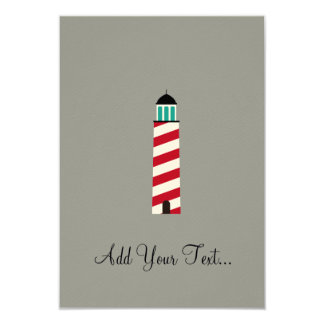 Lighthouse in red an white 3.5x5 paper invitation card