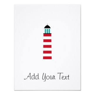 Lighthouse in red an white 4.25x5.5 paper invitation card