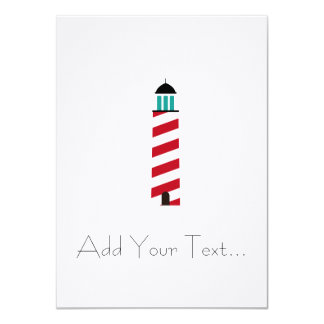 Lighthouse in red an white 4.5x6.25 paper invitation card