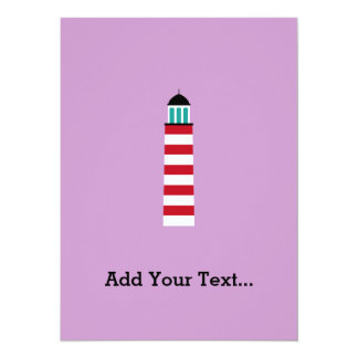 Lighthouse in red an white 5.5x7.5 paper invitation card