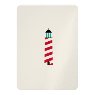 Lighthouse in red an white 5x7 paper invitation card