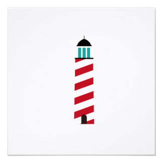 Lighthouse in red an white invitation