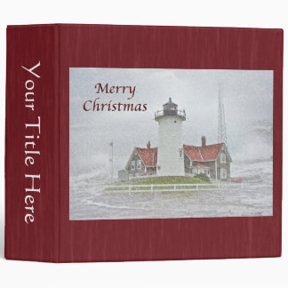Lighthouse in Snow Merry Christmas 3 Ring Binder