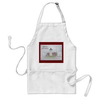 Lighthouse in Snow Merry Christmas Apron