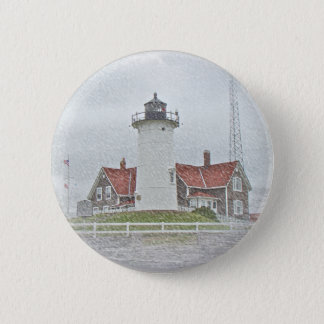 Lighthouse in Snow Merry Christmas Button