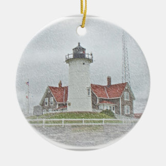 Lighthouse in Snow Merry Christmas Ceramic Ornament