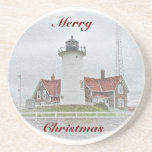Lighthouse in Snow Merry Christmas Drink Coaster