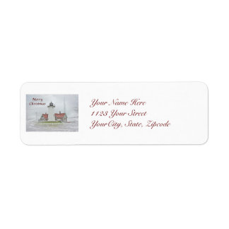 Lighthouse in Snow Merry Christmas Label