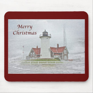 Lighthouse in Snow Merry Christmas Mouse Pad