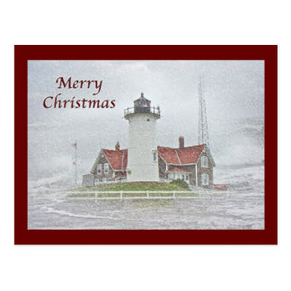 Lighthouse in Snow Merry Christmas Post Cards