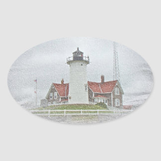 Lighthouse in Snow Merry Christmas Stickers