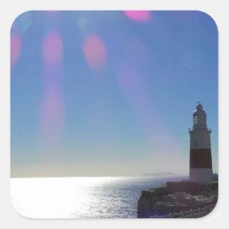 Lighthouse in Sunshine, Gibraltar Square Sticker