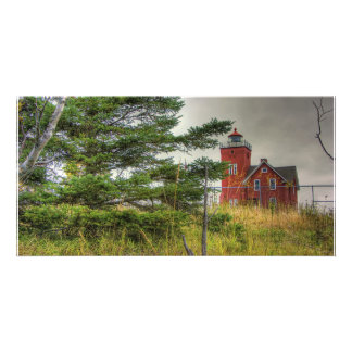 Lighthouse in the Grass Customized Photo Card