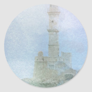 Lighthouse in the Mist Classic Round Sticker