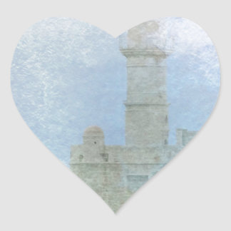 Lighthouse in the Mist Heart Sticker