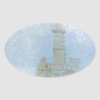 Lighthouse in the Mist Oval Sticker