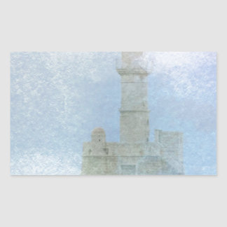 Lighthouse in the Mist Rectangular Sticker