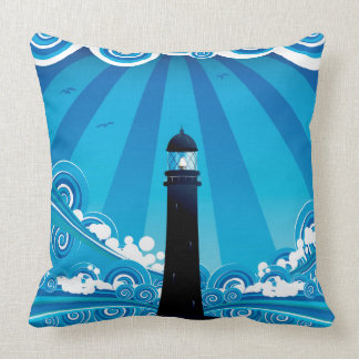 Lighthouse in the Sea 4 Throw Pillow