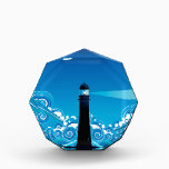 """Lighthouse in the Sea 5 Acrylic Award<br><div class=""""desc"""">Blue stylized sea with big waves and lighthouse.</div>"""