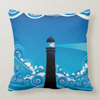 Lighthouse in the Sea 5 Throw Pillow