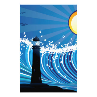 Lighthouse in the Sea Stationery