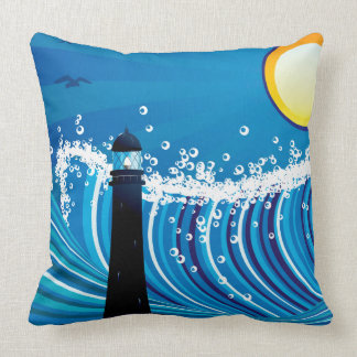 Lighthouse in the Sea Throw Pillow