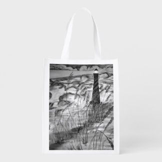 Lighthouse In The Storm Market Totes