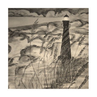 Lighthouse In The Storm Wood Print