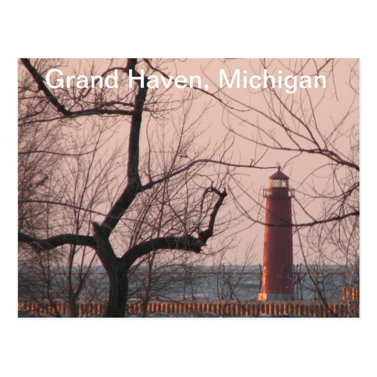 Lighthouse in Winter Grand Haven, MI Postcard