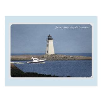 Lighthouse Jennings Beach Fairfield Connecticut Postcard