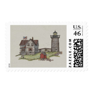 Lighthouse & Keepers House Postage Stamp