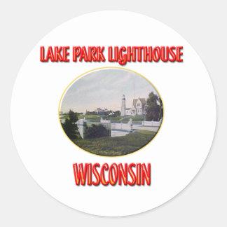 Lighthouse Lake Park Round Stickers