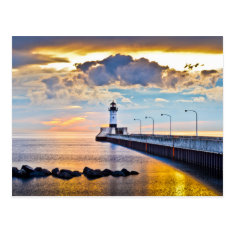Lighthouse Lake Superior Postcard at Zazzle