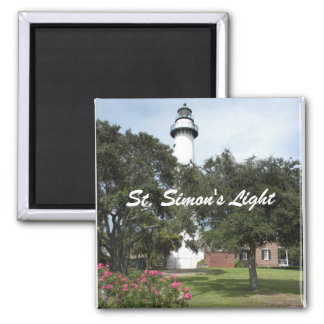 Lighthouse, Lawn, and Flowering Bush 2 Inch Square Magnet
