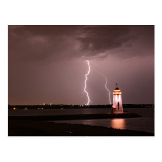 Lighthouse Lightning at Lake Hefner Postcard