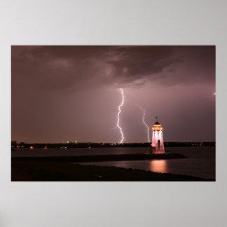 Lighthouse Lightning at Lake Hefner Poster