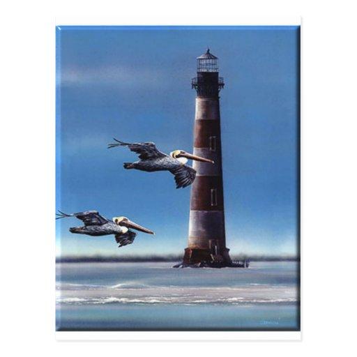 Lighthouse Morris Island Post Card