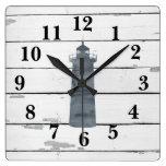 Lighthouse Nautical Blue Shiplap Rustic Decor Square Wall Clock