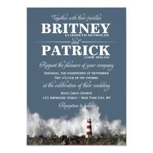 Lighthouse Nautical Themed Wedding Invitations 4.5