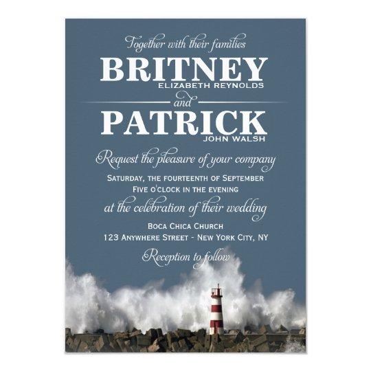 Nautical Themed Wedding Invitations: Lighthouse Nautical Themed Wedding Invitations