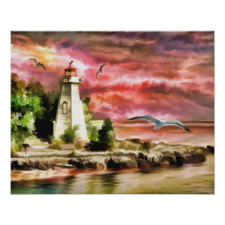 Lighthouse Ocean Coast At Sunset, Paper Poster
