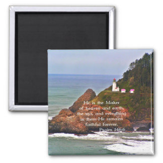 Lighthouse Ocean Sea Christian Creationarts 2 Inch Square Magnet